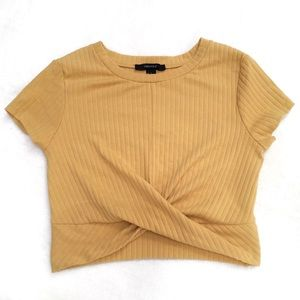 Forever 21 Yellow Ribbed Crop Tee Front Twist